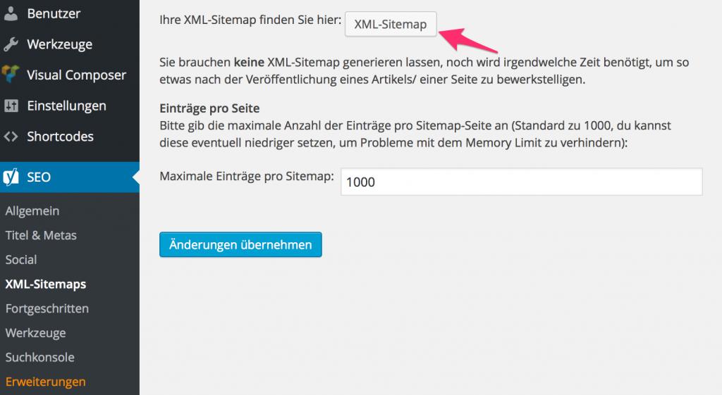 XML-Sitemaps Yoast SEO WordPress