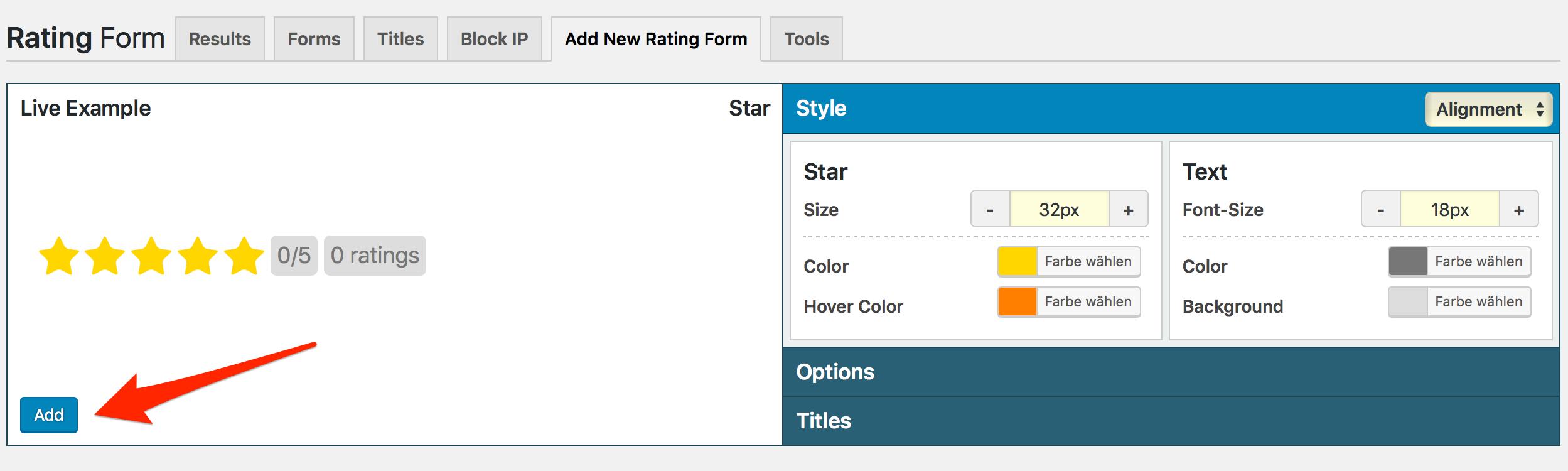 Rating Form Google Sterne