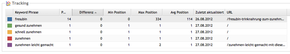 Ranking Google Hauptkeys