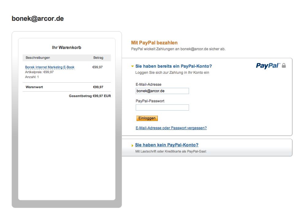 Zahlungsformular PayPal (Basic)