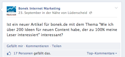 Content-Idee-Facebook-Frage