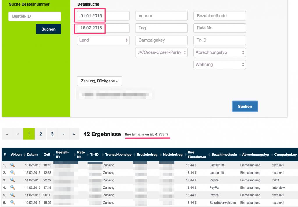 Einnahmen Nischenseiten Screenshot