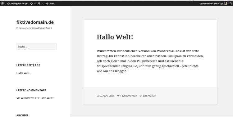 Fertige Homepage mit WordPress - Hello World