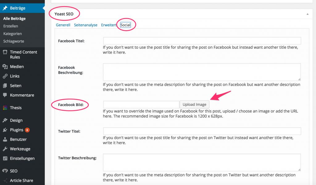 Änderungen im Yoast-SEO-Plugin vornehmen für das Facebook Teilen Bild