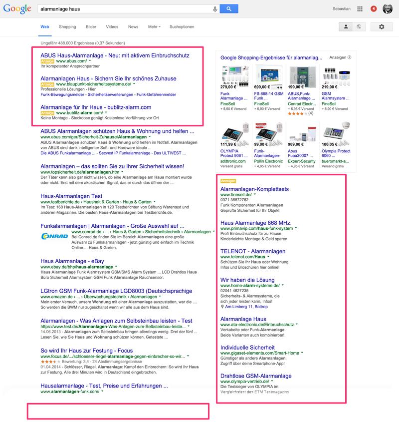 Screenshot von möglichen Anzeigen bei Google