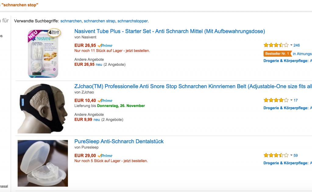 Beispiel von Nischenprodukten auf Amazon