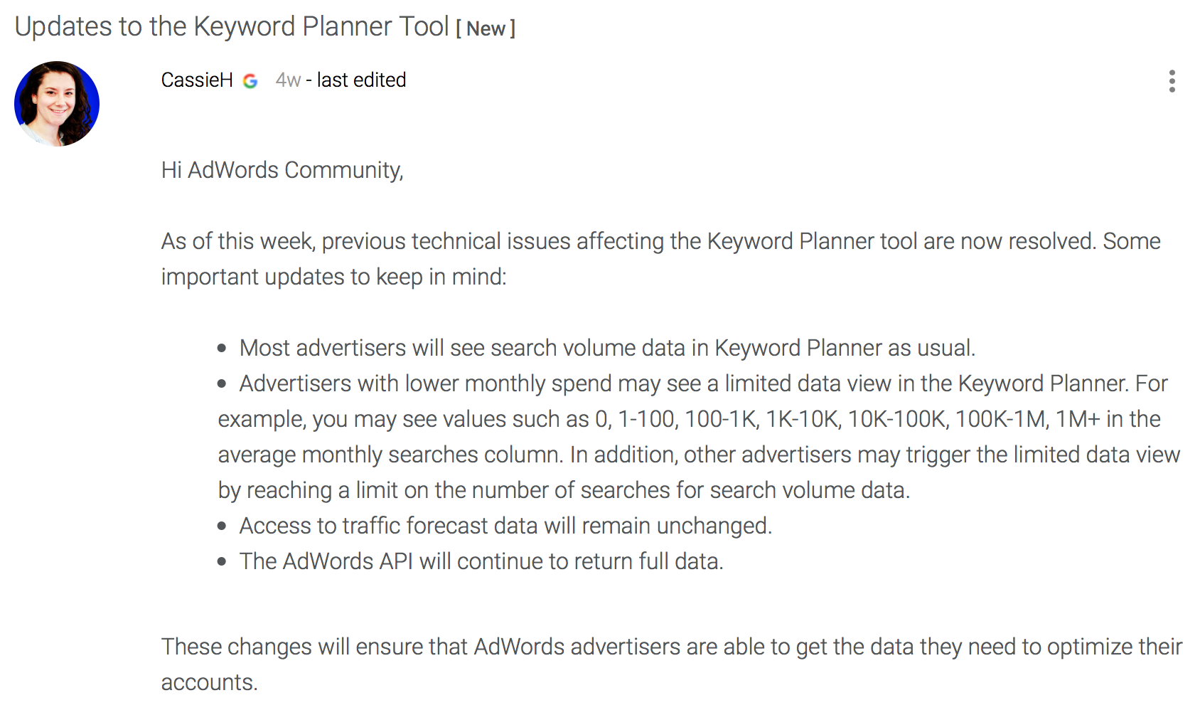 Updates zum Keyword-Planner