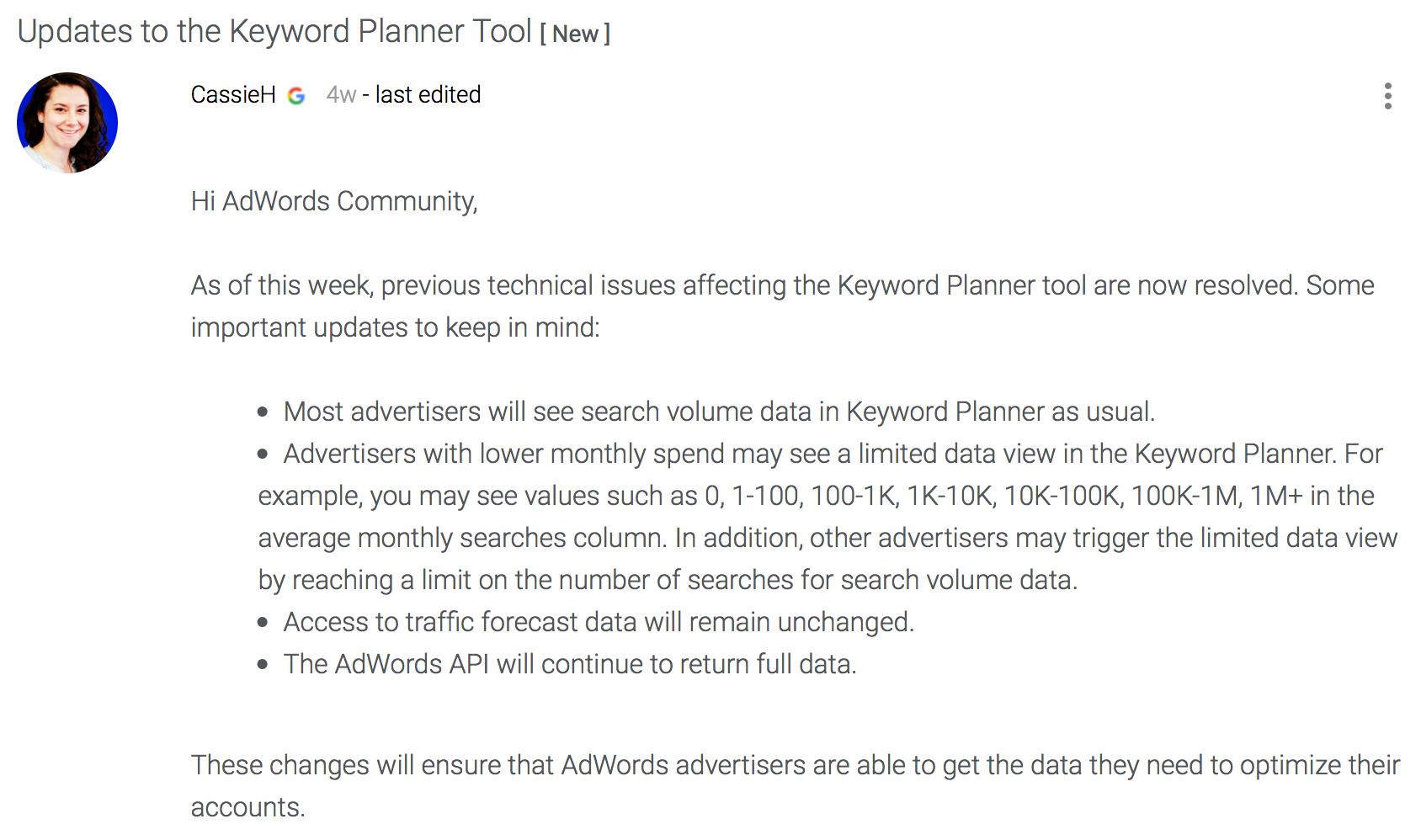 Updates zum Keyword-Planner