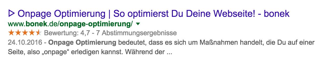 Onpage Optimierung Google Bewertungen