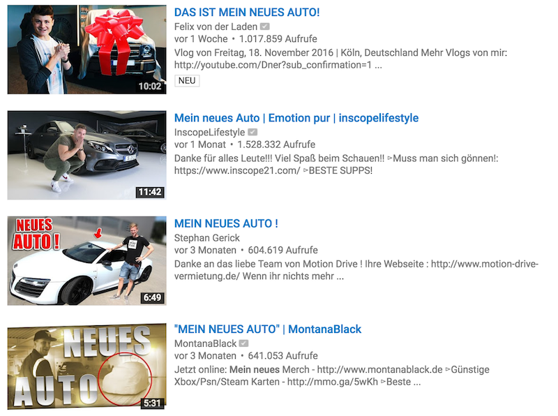 YouTuber Autos