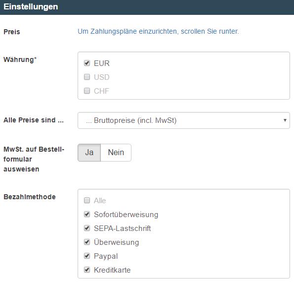 DigiStore24 Zahlungsplan-Einstellungen