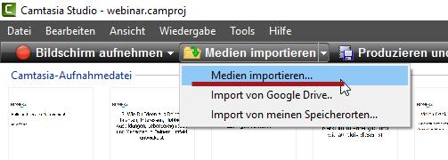 Camtasia Medium importieren