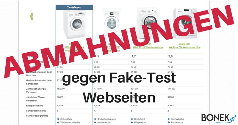 Abmahnungen gegen Fake Test Webseiten